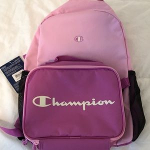 Champion backpack w/ detachable lunchbox